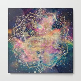 Stylish Gold mandala watercolor & Nebula Colorful Design Metal Print