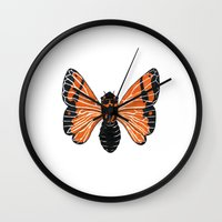 moth Wall Clocks featuring Moth by Eric Weiand