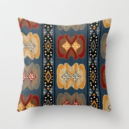 African Tribal Ethnic Print Stripe Diamond Dot Pattern Throw Pillow