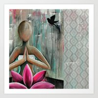 namaste Art Prints featuring Namaste  by hippocrocaduck