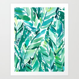 BANANA LEAF JUNGLE Green Tropical Art Print