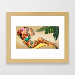 Beach Pin-up Framed Art Print