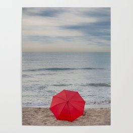 Red Umbrella lying at the beach III Poster