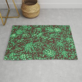 Scent of Pine RETRO GREEN / Photograph of pine cones Rug