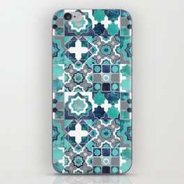 Spanish moroccan tiles inspiration // turquoise green silver lines iPhone Skin