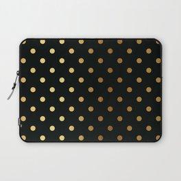 Gold polka dots on black pattern Laptop Sleeve
