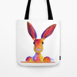 Happy Hare Rabbit ' JUST TO SAY HELLO ' by Shirley MacArthur Tote Bag