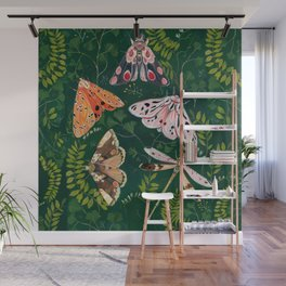 Moths and dragonfly Wall Mural