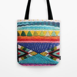 Rainbow Tribal Embroidery Tote Bag