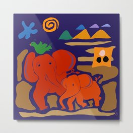 Red Elephants and Emerald Green Bird Metal Print