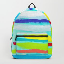 Ocean Blue Summer blue abstract painting stripes pattern beach tropical holiday california hawaii Backpack
