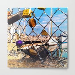 Trapped Rat at Love Locks Bridge in Portland, Maine Metal Print