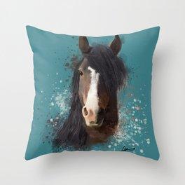 Black Brown Horse Artwork Throw Pillow