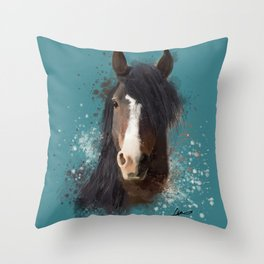 Black Brown Horse Artwork Throw Pillow