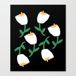 Tulips Dancing in White on Black Canvas Print