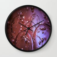 jewish Wall Clocks featuring Red Glass Bubbles by Brown Eyed Lady