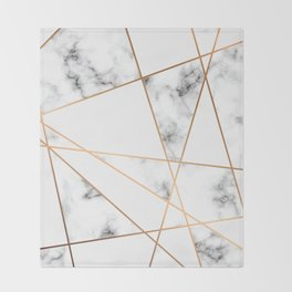 White, Gray, Gold Marble Geometric Pattern Throw Blanket