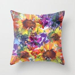 Rainy Day Sunflower Garden Throw Pillow