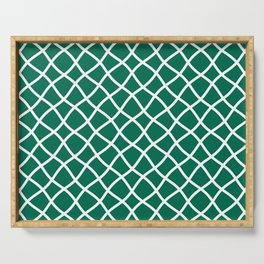 Teal green and white curved grid pattern Serving Tray