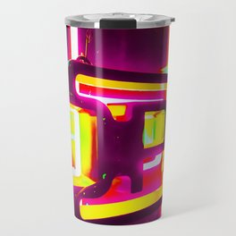 night light with open neon sign in pink yellow green background Travel Mug