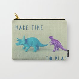 Make Time to Play - Blue and Purple Dino on Green Carry-All Pouch