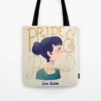 pride and prejudice Tote Bags featuring Pride and Prejudice by Nan Lawson