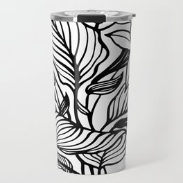 White Black Floral Minimalist Travel Mug