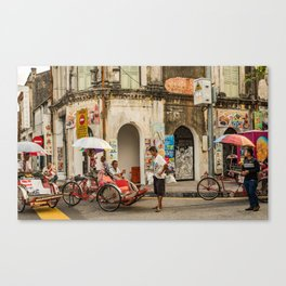 George Town, Penang Trishaw Break Canvas Print