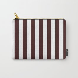 Narrow Vertical Stripes - White and Dark Sienna Brown Carry-All Pouch