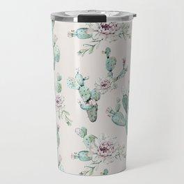 Pretty Cactus Rose Pattern Pale Pink + Green Travel Mug