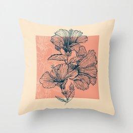 Hibiscus Colors Throw Pillow