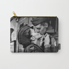 The Kiss - The Last Goodbye - Lovers kissing goodbye through open window on train black and white photograph Carry-All Pouch