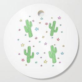 Space Cactus Rainbow Stars Cutting Board