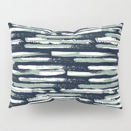 Colorful Stripes, Navy Blue and Green, Abstract Art Pillow Sham