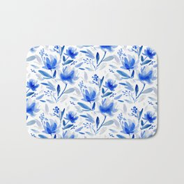 Blue Floral Watercolor Pattern Bath Mat