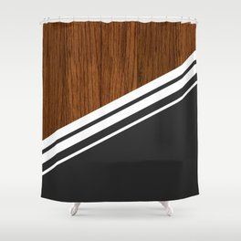 Wood StYle black Shower Curtain