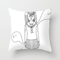 cyclops Throw Pillows featuring CYCLOPS by AMBArts