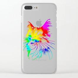 tie dye cat splash art Clear iPhone Case