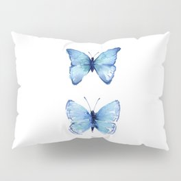 Two Blue Butterflies Watercolor Pillow Sham