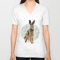 hare V-neck T-shirts featuring Hare by Giulia Zerbini