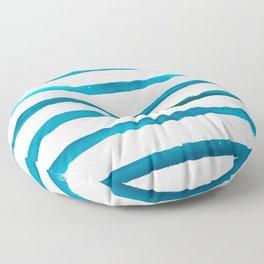 Watercolor Waves Blue Stripe Floor Pillow