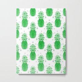 Green Pineapple Pattern Metal Print