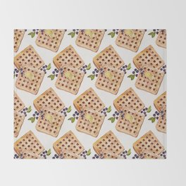 Blueberry Breakfast Waffles Throw Blanket
