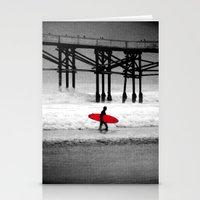 surfboard Stationery Cards featuring Red Surfboard by Derek Fleener