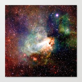 Dark and Mysterious Omega Nebula Colorful Canvas Print