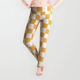Small Checkered - White and Pastel Orange Leggings