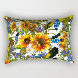 Abstract navy blue yellow watercolor sunflowers pansies pattern Rectangular Pillow