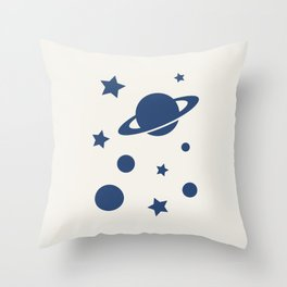 Planets - Navy Blue Throw Pillow