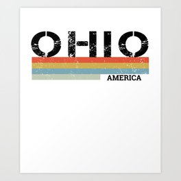 Retro Vintage Stripes Ohio Gift & Souvenir Graphic Art Print