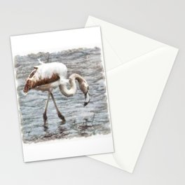 Knee Deep Flamingo Watercolor Stationery Cards
